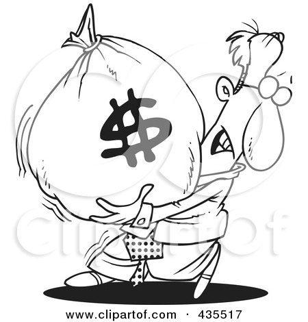 Royalty-Free (RF) Clipart Illustration of a Line Art Design Of A Businessman Carrying A Heavy Money Bag by toonaday
