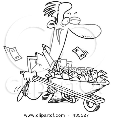 Royalty-Free (RF) Clipart Illustration of a Line Art Design Of A Businessman Pushing A Wheelbarrow Full Of Cash by toonaday