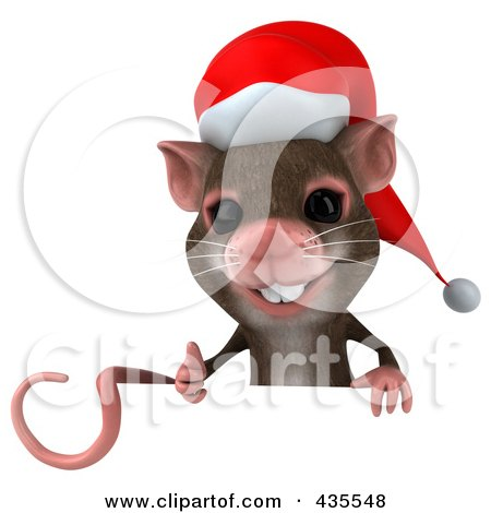 Royalty-Free (RF) Clipart Illustration of a 3d Christmas Mouse With A Blank Sign - 1 by Julos