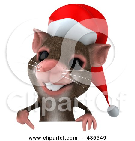Royalty-Free (RF) Clipart Illustration of a 3d Christmas Mouse With A Blank Sign - 2 by Julos