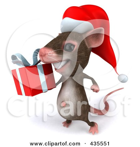 Royalty-Free (RF) Clipart Illustration of a 3d Christmas Mouse Carrying A Gift - 2 by Julos