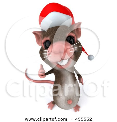 Royalty-Free (RF) Clipart Illustration of a 3d Christmas Mouse Holding A Thumb Up - 2 by Julos