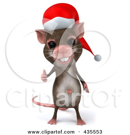Royalty-Free (RF) Clipart Illustration of a 3d Christmas Mouse Holding A Thumb Up - 1 by Julos