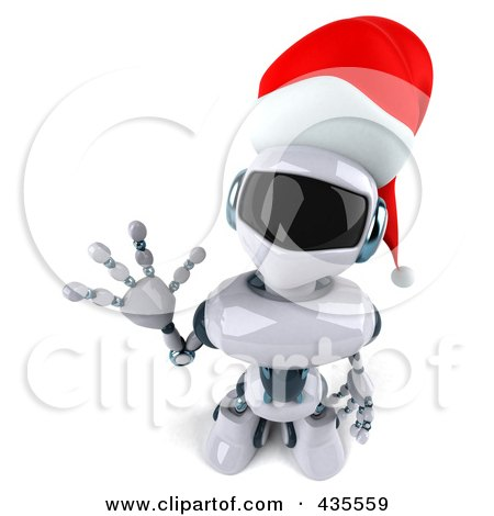 Royalty-Free (RF) Clipart Illustration of a 3d Christmas Techno Robot Character Looking Up And Waving by Julos
