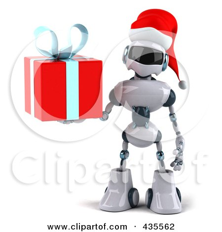 Royalty-Free (RF) Clipart Illustration of a 3d Christmas Techno Robot Character Holding A Gift by Julos