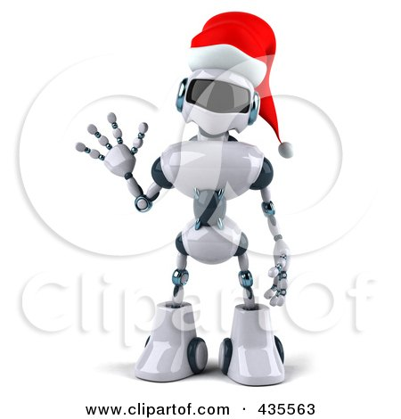 Royalty-Free (RF) Clipart Illustration of a 3d Christmas Techno Robot Character Waving by Julos