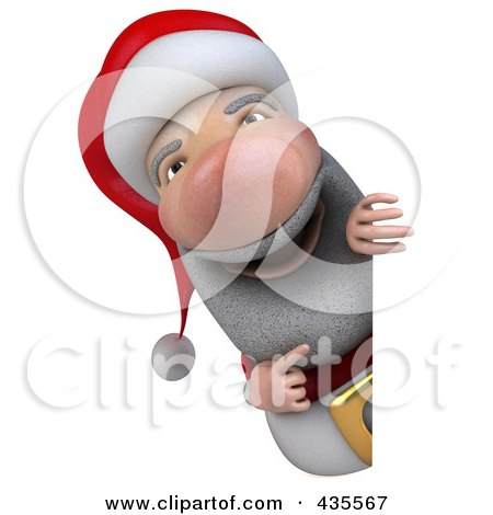 Royalty-Free (RF) Clipart Illustration of a 3d Santa With A Blank Sign - 2 by Julos