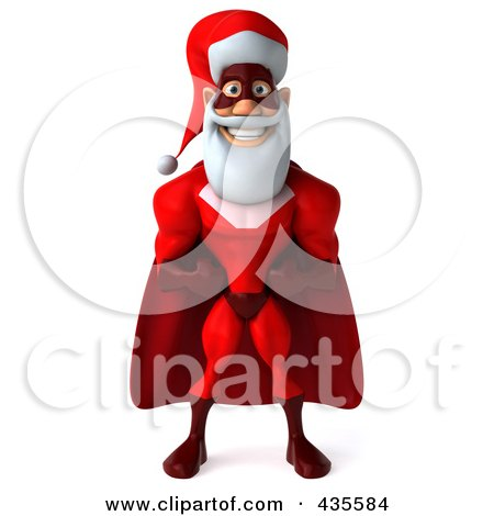 Royalty-Free (RF) Clipart Illustration of a 3d Super Santa Standing And Facing Front by Julos