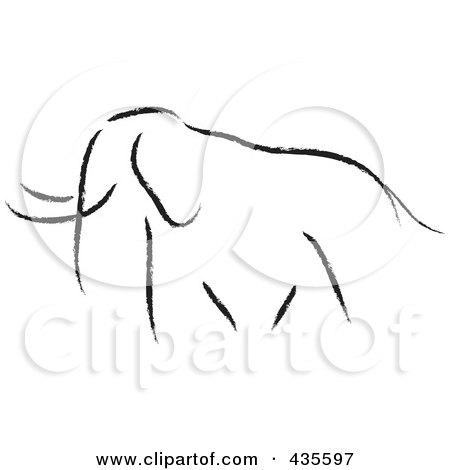 Royalty-Free (RF) Clipart Illustration of a Black Sketched Elephant by stephjs
