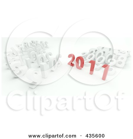 Royalty-Free (RF) Clipart Illustration of a 3d Red 2011 Standing Out From White Years by KJ Pargeter