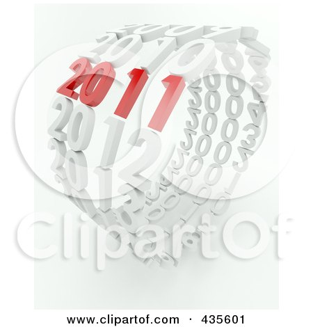 Royalty-Free (RF) Clipart Illustration of a 3d Red 2011 Standing Out In A Ring Of White Years by KJ Pargeter