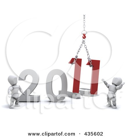 Royalty-Free (RF) Clipart Illustration of a 3d White People Crew Setting Up The New Year Of 2011 by KJ Pargeter