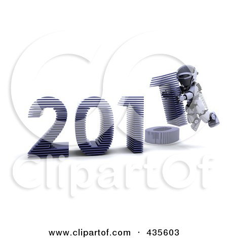 Royalty-Free (RF) Clipart Illustration of a 3d Robot Assembling The Year 2011 - 2 by KJ Pargeter