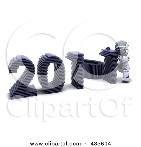 Royalty-Free (RF) Clipart Illustration of a 3d Robot Assembling The Year 2011 - 1 by KJ Pargeter