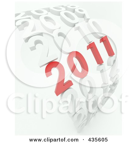 Royalty-Free (RF) Clipart Illustration of a 3d Red 2011 Standing Out In A Curve Of White Years by KJ Pargeter