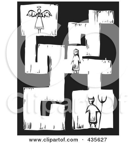 Royalty-Free (RF) Clipart Illustration of a Black And White Woodcut Style Maze Of A Girl With An Angel And Devil by xunantunich
