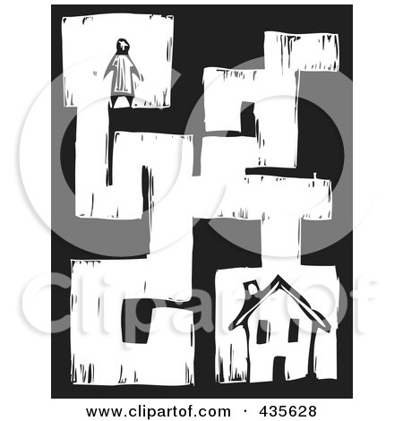 Royalty-Free (RF) Clipart Illustration of a Black And White Woodcut Style Person In A Maze, Searching For A House by xunantunich