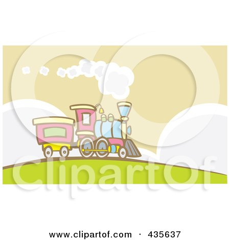 Royalty-Free (RF) Clipart Illustration of a Steam Engine Train On A Hill by xunantunich