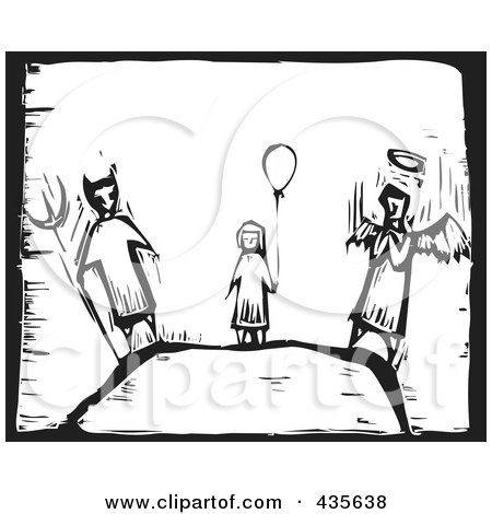 Royalty-Free (RF) Clipart Illustration of a Black And White Woodcut Style Girl With A Balloon, Devil And Angel by xunantunich