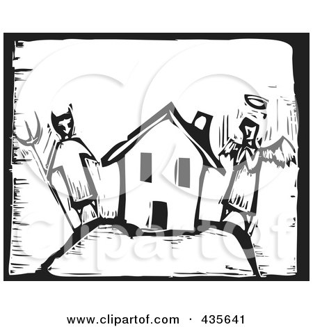 Royalty-Free (RF) Clipart Illustration of a Black And White Woodcut Style Angel And Devil By A House by xunantunich