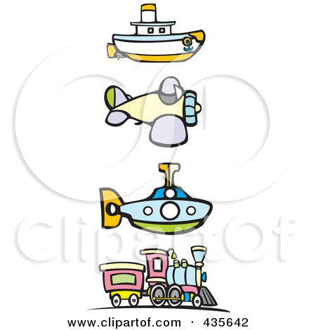 Royalty-Free (RF) Clipart Illustration of a Digital Collage Of A Steam Engine Train, Airplane, Submarine And Tugboat by xunantunich