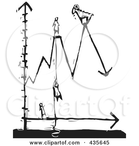 Royalty-Free (RF) Clipart Illustration of a Black And White Woodcut Style Line Graph With People by xunantunich