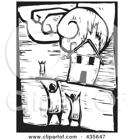 Royalty-Free (RF) Clipart Illustration of a Black And White Woodcut Style House Burning by xunantunich