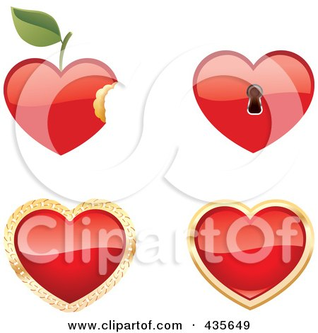 Royalty-Free (RF) Clipart Illustration of a Digital Collage Of Shiny Red Apple, Key Hole And Shiny Hearts by Monica