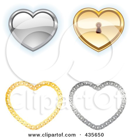 Royalty-Free (RF) Clipart Illustration of a Digital Collage Of Shiny Silver And Gold Key Hole And Chain Hearts by Monica