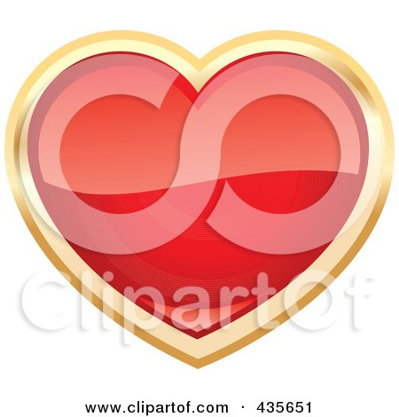 Royalty-Free (RF) Clipart Illustration of a Shiny Red Heart With Gold Trim by Monica