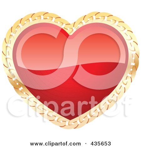 Royalty-Free (RF) Clipart Illustration of a Shiny Red Heart With Gold Chain Trim by Monica