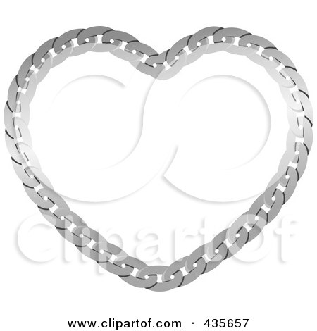 Royalty-Free (RF) Clipart Illustration of a Silver Chain Heart by Monica