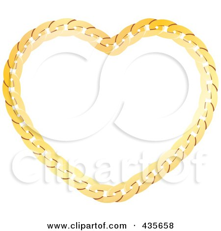 Royalty-Free (RF) Clipart Illustration of a Gold Chain Heart by Monica