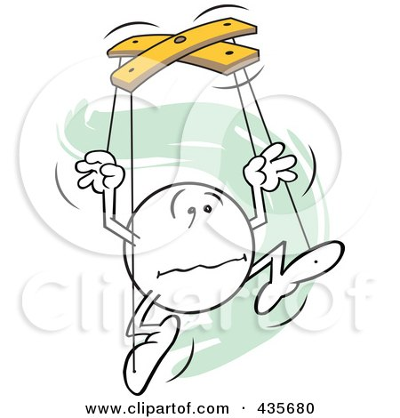 Royalty-Free (RF) Clipart Illustration of a Distraught Moodie Character Puppet Over Green Squiggles by Johnny Sajem