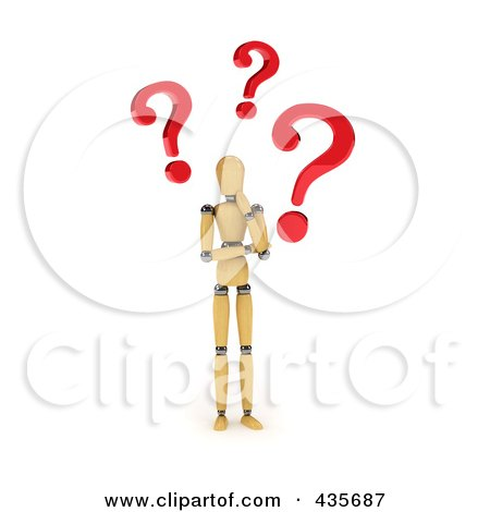 Royalty-Free (RF) Clipart Illustration of a 3d Confused Wooden Mannequin With Red Question Marks by stockillustrations