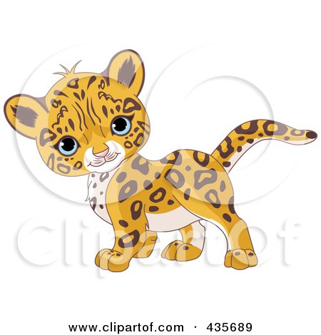 Royalty-Free (RF) Clipart Illustration of a Cute Baby Jaguar Walking By by Pushkin