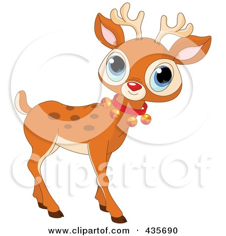 Royalty-Free (RF) Clipart Illustration of a Cute Baby Rudolph With A Bell Collar by Pushkin