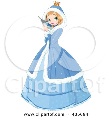 Winter Princess Holding A Blue Bird Posters, Art Prints