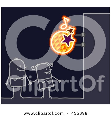 Royalty-Free (RF) Clipart Illustration of a Stick Couple Standing Under A Disco Sign by NL shop
