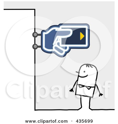 Royalty-Free (RF) Clipart Illustration of a Stick Man Standing Under A Bank Sign by NL shop