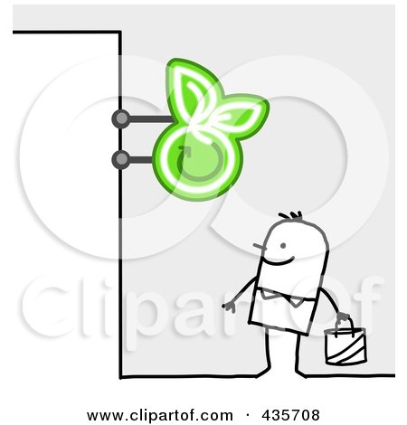 Royalty-Free (RF) Clipart Illustration of a Stick Man Standing Under An Apple Grocery Sign by NL shop