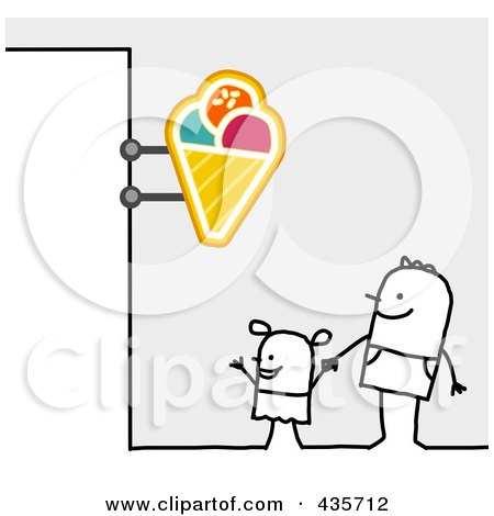 Royalty-Free (RF) Clipart Illustration of a Stick Man And Son Standing Under An Ice Cream Sign by NL shop