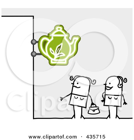 Royalty-Free (RF) Clipart Illustration of Two Stick Women Standing Under A Tea Sign by NL shop