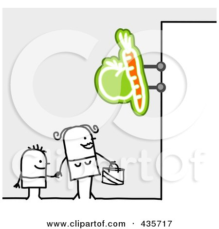 Royalty-Free (RF) Clipart Illustration of a Stick Woman And Son Standing Under A Produce Sign by NL shop