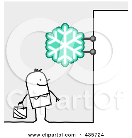 Royalty-Free (RF) Clipart Illustration of a Stick Man Standing Under A Snowflake Sign by NL shop