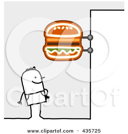 Royalty-Free (RF) Clipart Illustration of a Stick Man Standing Under A Hamburger Sign by NL shop