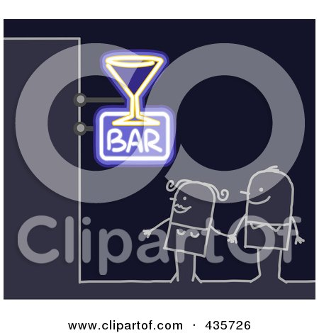 Royalty-Free (RF) Clipart Illustration of a Stick Couple Standing Under A Bar Sign by NL shop