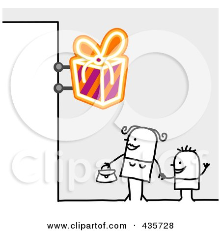 Royalty-Free (RF) Clipart Illustration of a Stick Woman And Son Standing Under A Gift Sign by NL shop