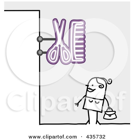 Royalty-Free (RF) Clipart Illustration of a Stick Man Standing Under A Hair Salon Sign by NL shop