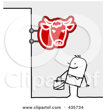 Royalty-Free (RF) Clipart Illustration of a Stick Man Standing Under A Butcher Shop Sign by NL shop